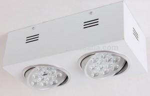 LAMPA NATYNKOWA RUCHOMA SREBRNY SQUARE II HIGH POWER LED 24W (2x12x1W) 2400LM=200W 230V biała ciepła 3000K