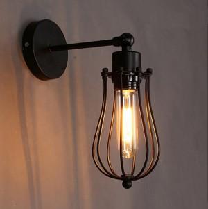 Lampa ścienna VINTAGE, czarna z gniazdem E27 + Żarówka FIlament Edison!