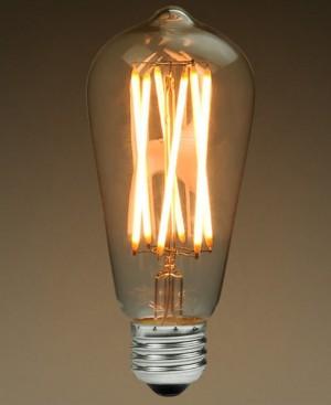 Z012ST - E27 ST64 FILAMENT COB LED 8W (8x1W) 850LM=75W 230V GRUSZKA BIALA CIEPŁA 2900K 270 stopni; ŚCIEMNIALNA