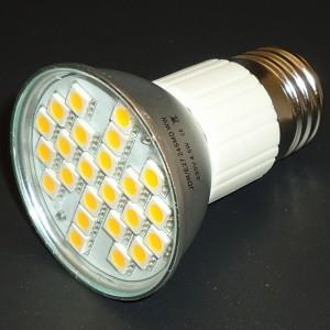 Z320 - E27 24 POWER LED SMD 5050 4,5W 380LM=40W 230V  BIAŁA CIEPŁA 3100K IP44 z osłoną z alu radiatorem