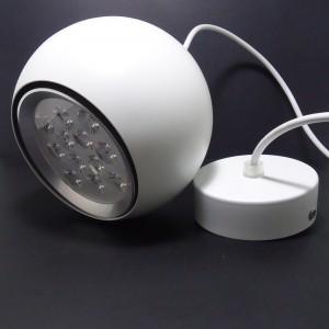 LAMPA WISZĄCA BIAŁA KULA fi: 220mm HIGH POWER LED 18W (18x1W) 1800LM=150W 230V BIAŁY CIEPŁY 3000K 45 st.