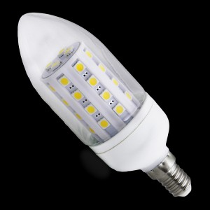E14 36 LED SMD 5050 6,6W 500LM = 45W 230V BIAŁA CIEPŁA 3100K ŚWIECA 360st.