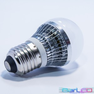 E27 HIGH POWER LED 3W (3x1W) 400LM=40W 230V ALUMINIUM GLOBAL BIALA CIEPŁA 3000K 360 stopni