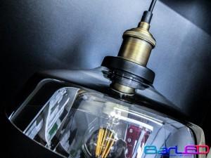 Lampa sufitowa natynkowa szklana VINTAGE z gniazdem E27; rozmiar D240xW180mm + Żarówka Filament