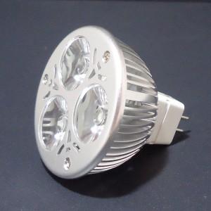 Z308 - MR16 HIGH POWER LED 3W (3x1W) 300LM=35W 12V BIALA CIEPŁA 3100K 120st.