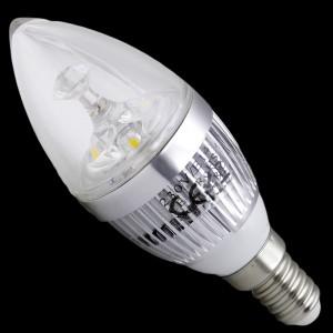 Z309 -  E14 CHANDELIER HIGH POWER LED 3W (3x1W) 330LM=35W 230V BIALA CIEPŁA 3100K 360 stopni