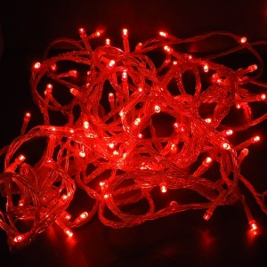 Z370R - LAMPKI CHOINKOWE SZNUR 100LED 10M KABLA IP44 220V 9,6W PVC 1,5mm WEWNETRZNE Z KONTROLEREM - RED-CZERWONY