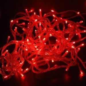 Z372R - LAMPKI CHOINKOWE SZNUR 100LED 10M KABLA IP44 220V 9,6W PVC 2,0mm ZEWNETRZNE W KOMPLECIE Z KONTROLEREM, WTYCZKĄ I GNIAZDEM DO ŁĄCZENIA W DŁUŻSZE ODCINKI I WTYCZKĄ SIECIOWĄ - RED- CZERWONY