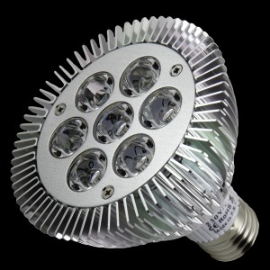 Z589 - E27 PAR30 7x1W HIGH POWER LED 7W ŻÓŁTA / YELLOW  590nm 120 stopni