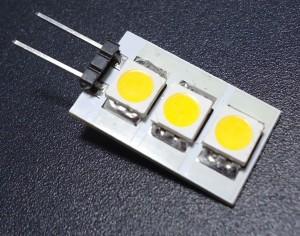 Z185 - G4 3 SMD 5050 0,6W 45LM 12V B.CIEPŁA 3100K 120st.