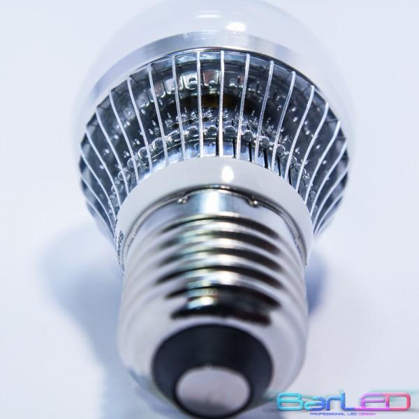 E27 HIGH POWER LED 3W (3x1W) 400LM=40W 230V ALUMINIUM GLOBAL BIALA CIEPŁA 3000K 360 stopni