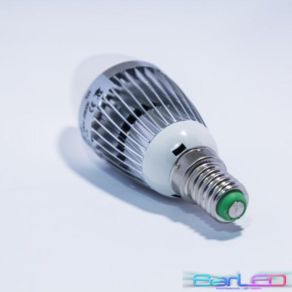 Zarówka LED E14 HIGH POWER LED 5W (5x1W) 500LM=50W 230V ŚWIECA BIALA CIEPŁA 2900K 360 stopni