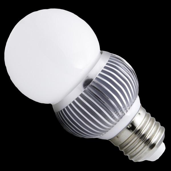 Żarówka E27 HIGH POWER LED 3W (3x1W) 330LM=40W 230V GLOBAL BIALA CIEPŁA 3100K 360 stopni ŚCIEMNIALNA