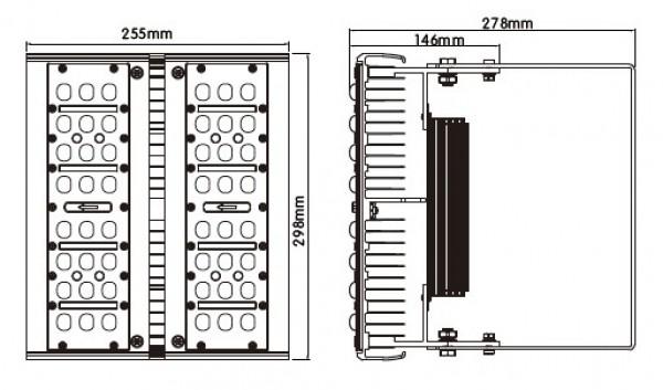 Lampa przemysłowa LED HIGH BAY 230V 60W 6000LM 48x1W BIAŁA CIEPŁA 3000K 45 stopni; dioda Brigdelux 140LM/chip, IP65; size: 255 x 298 x 278 mm, weight: 4,5kg
